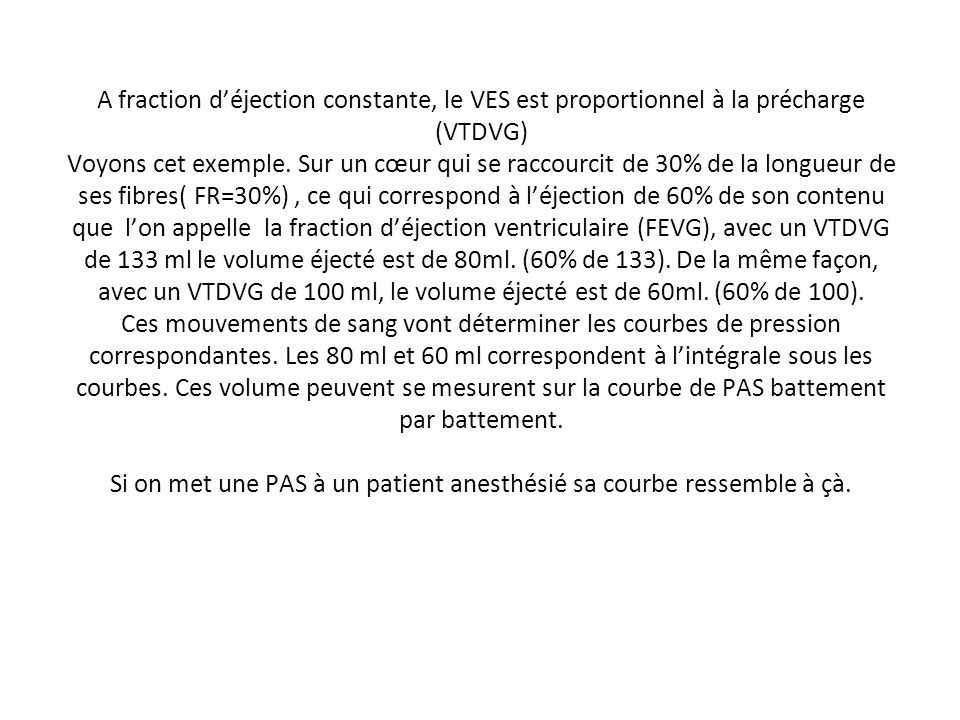 A fraction d'éjection constante, le VES est proportionnel à la précharge (VTDVG) Voyons cet exemple. Sur un cœur qui se raccourcit de 30% de la longueur de ses fibres( FR=30%) , ce qui correspond à l'éjection de 60% de son contenu que l'on appelle la fraction d'éjection ventriculaire (FEVG), avec un VTDVG de 133 ml le volume éjecté est de 80ml. (60% de 133). De la même façon, avec un VTDVG de 100 ml, le volume éjecté est de 60ml. (60% de 100). Ces mouvements de sang vont déterminer les courbes de pression correspondantes. Les 80 ml et 60 ml correspondent à l'intégrale sous les courbes. Ces volume peuvent se mesurent sur la courbe de PAS battement par battement. Si on met une PAS à un patient anesthésié sa courbe ressemble à çà.