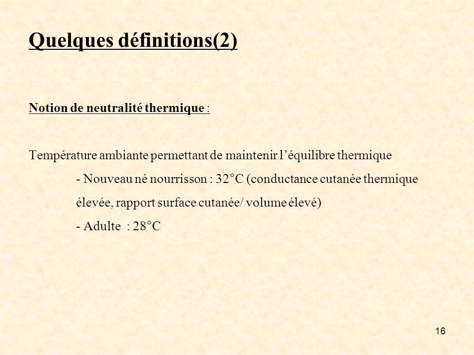 Quelques définitions(2) Notion de neutralité thermique : Température ambiante permettant de maintenir l'équilibre thermique - Nouveau né nourrisson : 32°C (conductance cutanée thermique élevée, rapport surface cutanée/ volume élevé) - Adulte : 28°C