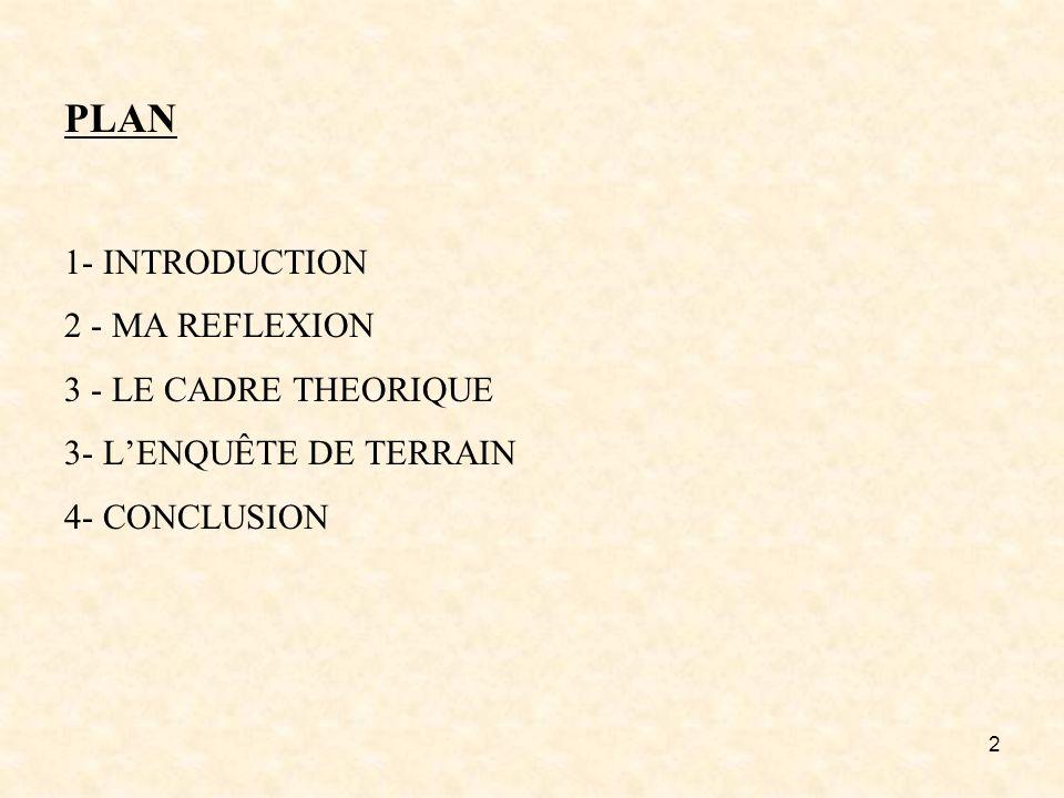 PLAN 1- INTRODUCTION 2 - MA REFLEXION 3 - LE CADRE THEORIQUE 3- L'ENQUÊTE DE TERRAIN 4- CONCLUSION