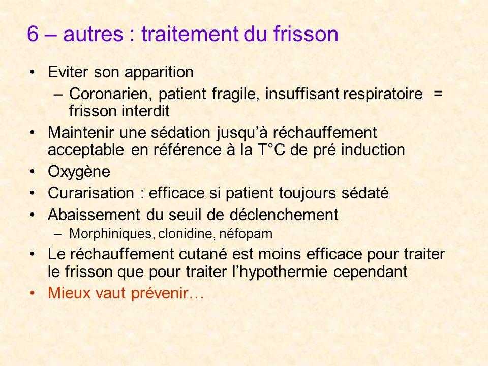 6 – autres : traitement du frisson