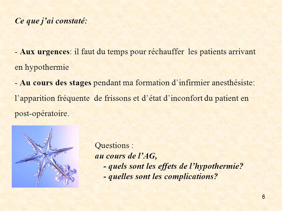 Ce que j'ai constaté: - Aux urgences: il faut du temps pour réchauffer les patients arrivant en hypothermie - Au cours des stages pendant ma formation d'infirmier anesthésiste: l'apparition fréquente de frissons et d'état d'inconfort du patient en post-opératoire.