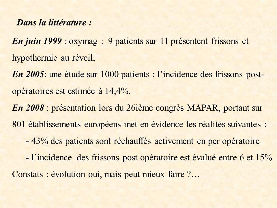 Dans la littérature :En juin 1999 : oxymag : 9 patients sur 11 présentent frissons et hypothermie au réveil,