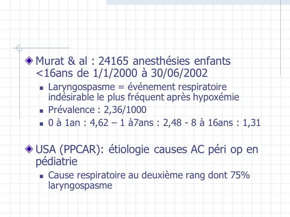USA (PPCAR): étiologie causes AC péri op en pédiatrie
