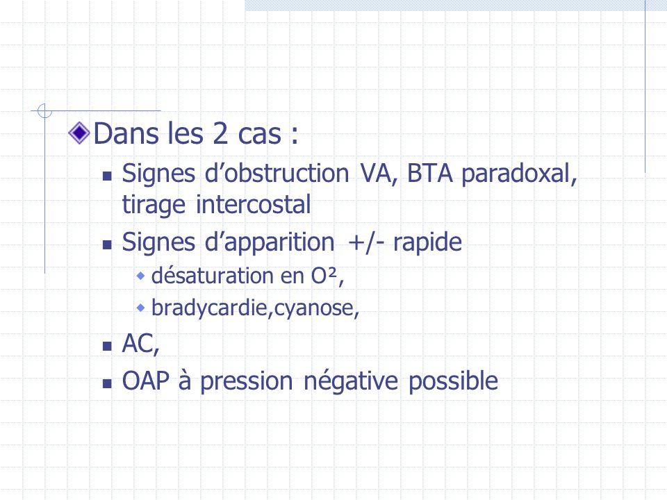 Dans les 2 cas : Signes d'obstruction VA, BTA paradoxal, tirage intercostal. Signes d'apparition +/- rapide.