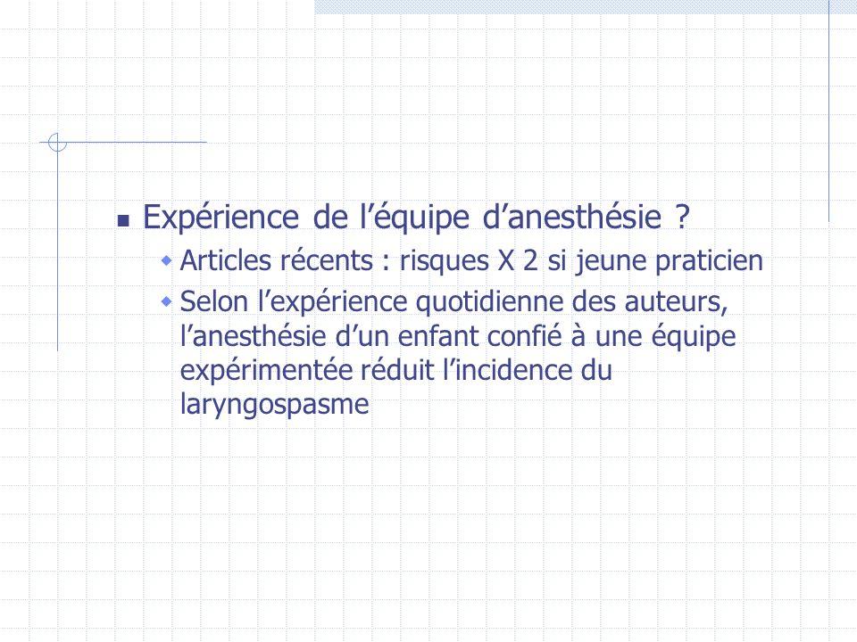 Expérience de l'équipe d'anesthésie