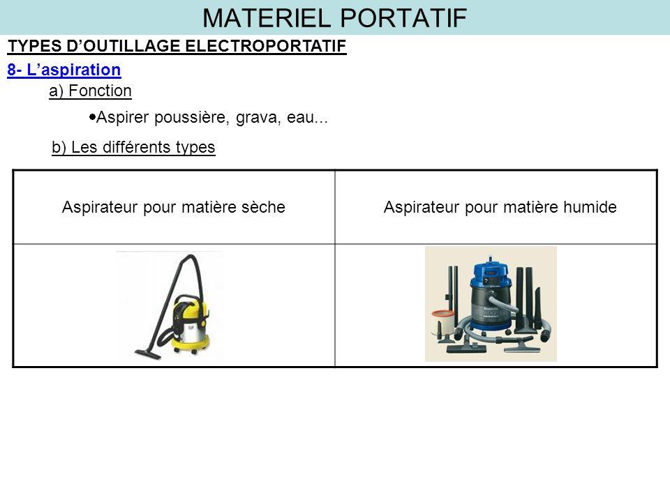 MATERIEL PORTATIF TYPES D'OUTILLAGE ELECTROPORTATIF 8- L'aspiration