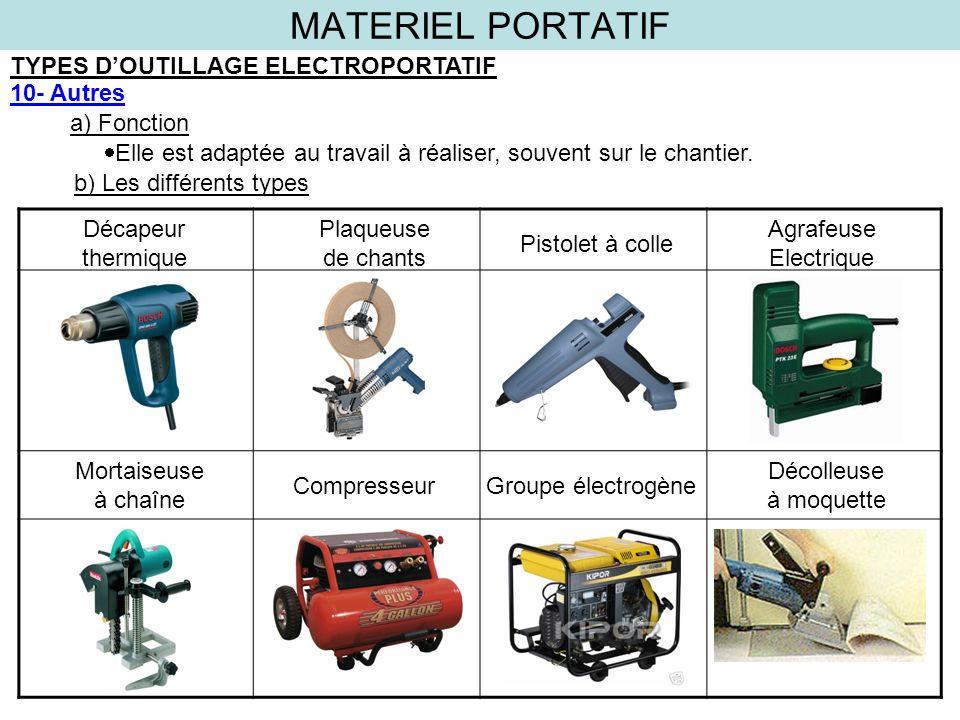 MATERIEL PORTATIF TYPES D'OUTILLAGE ELECTROPORTATIF 10- Autres