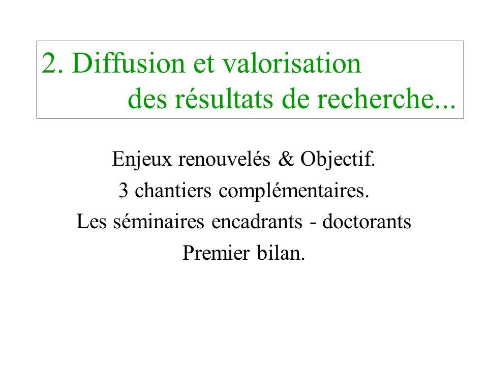 2. Diffusion et valorisation des résultats de recherche...