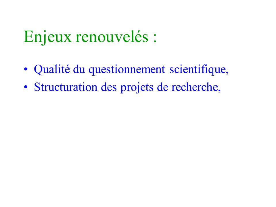 Enjeux renouvelés : Qualité du questionnement scientifique,
