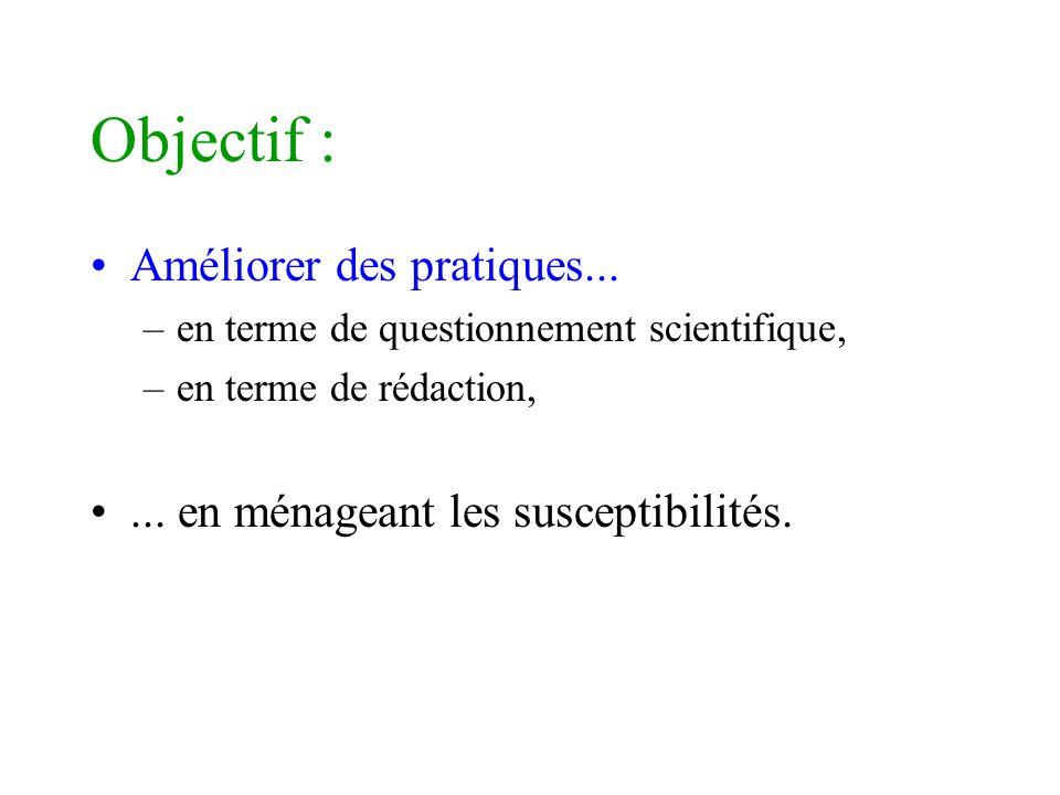 Objectif : Améliorer des pratiques...