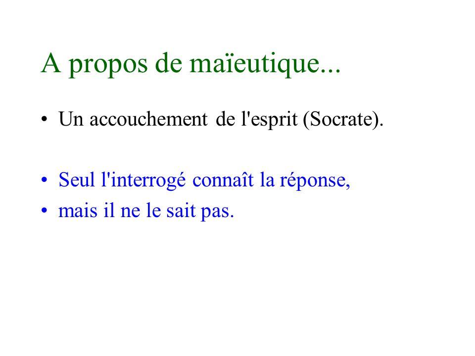 A propos de maïeutique... Un accouchement de l esprit (Socrate).
