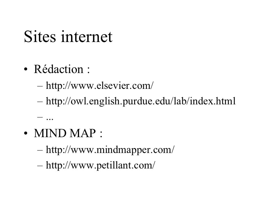 Sites internet Rédaction : MIND MAP : http://www.elsevier.com/
