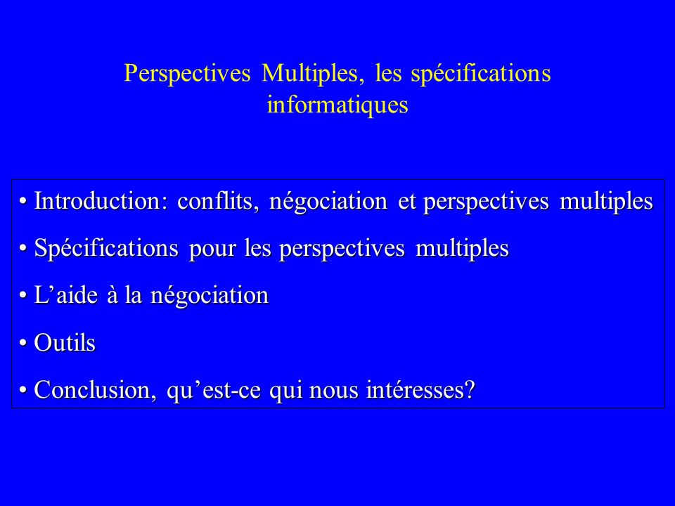 Perspectives Multiples, les spécifications informatiques