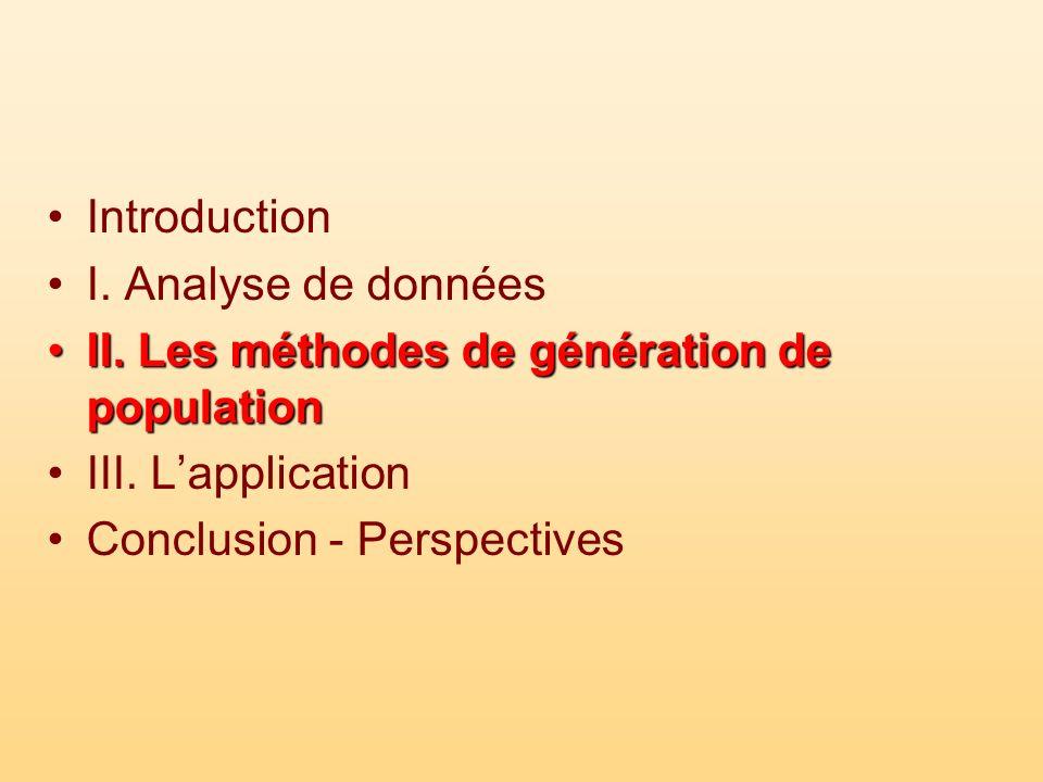 Introduction I. Analyse de données. II. Les méthodes de génération de population. III. L'application.