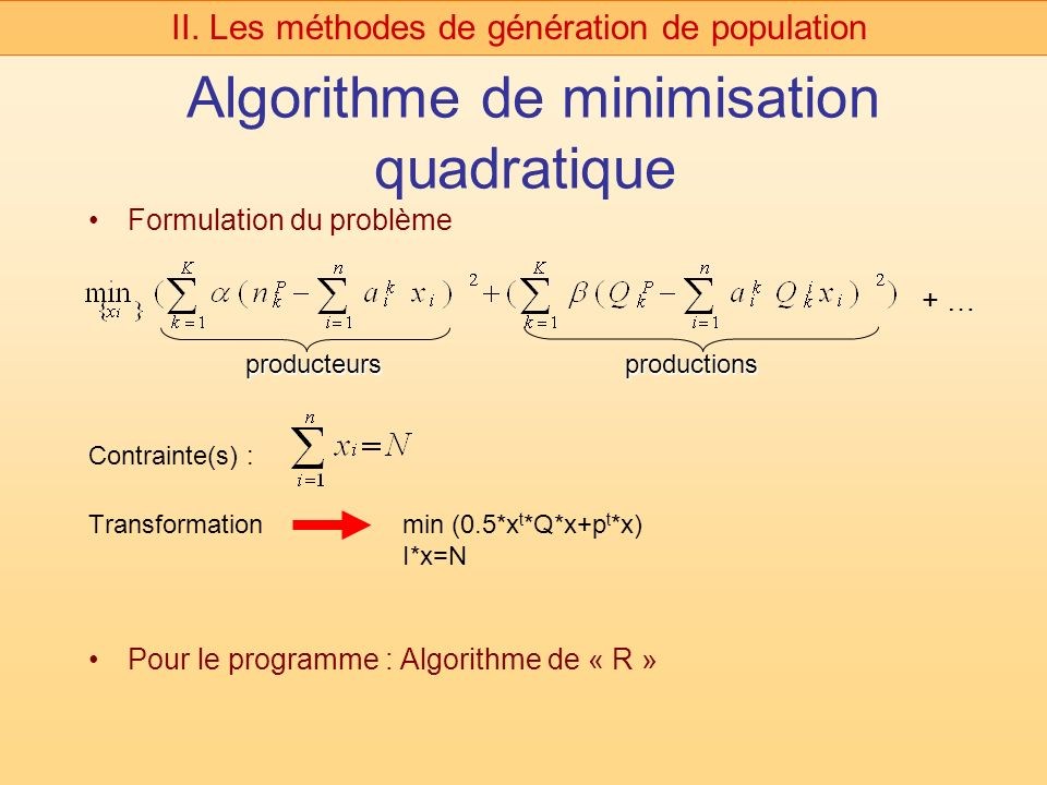 Algorithme de minimisation quadratique