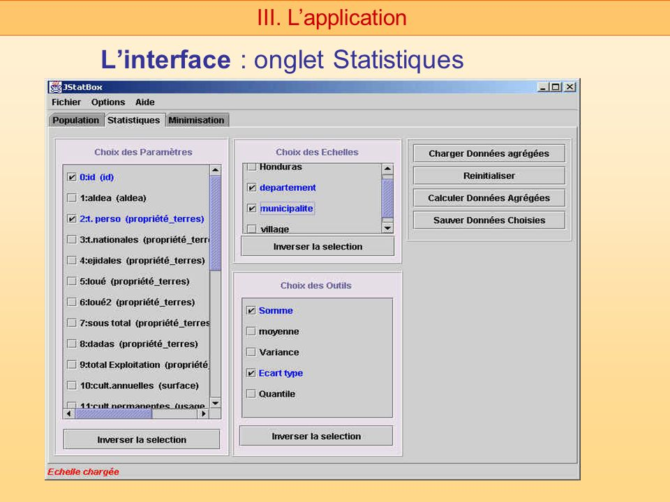 L'interface : onglet Statistiques