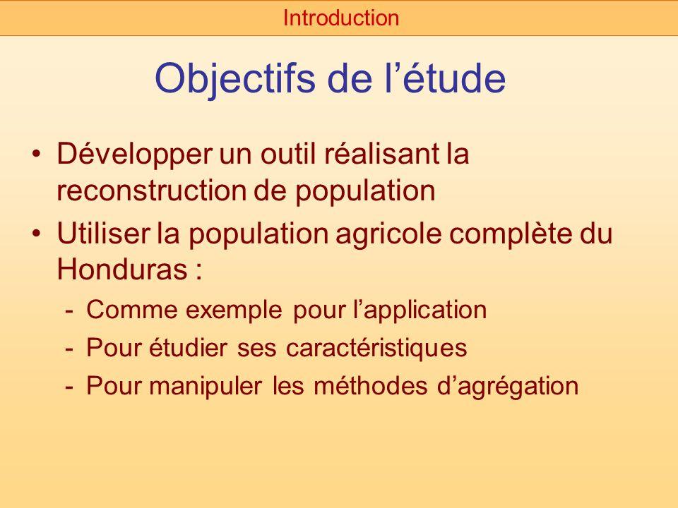 Introduction Objectifs de l'étude. Développer un outil réalisant la reconstruction de population.