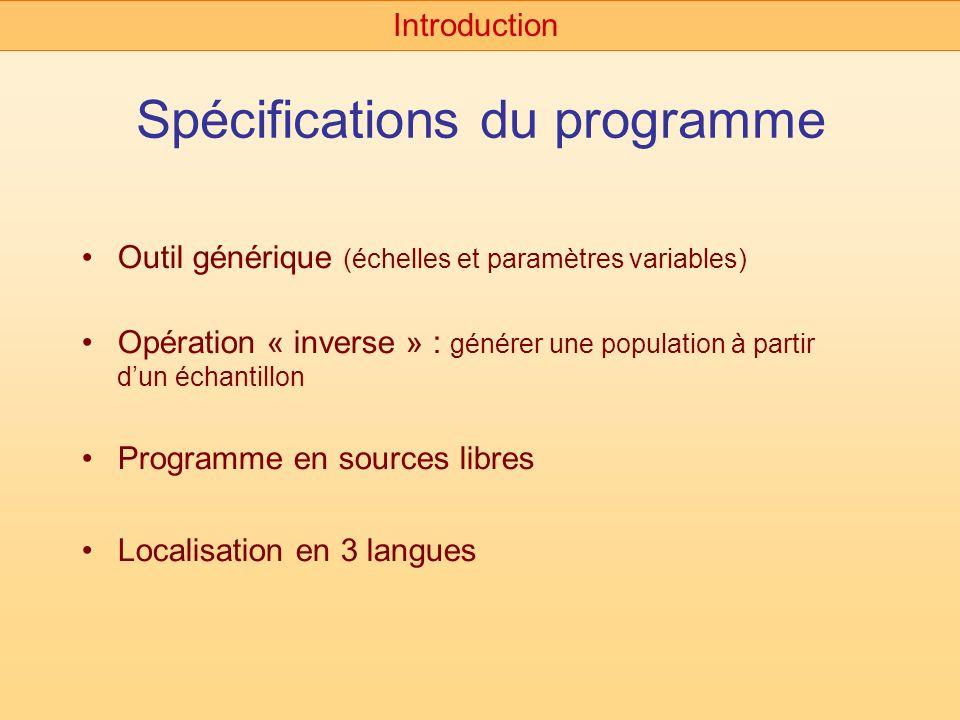 Spécifications du programme