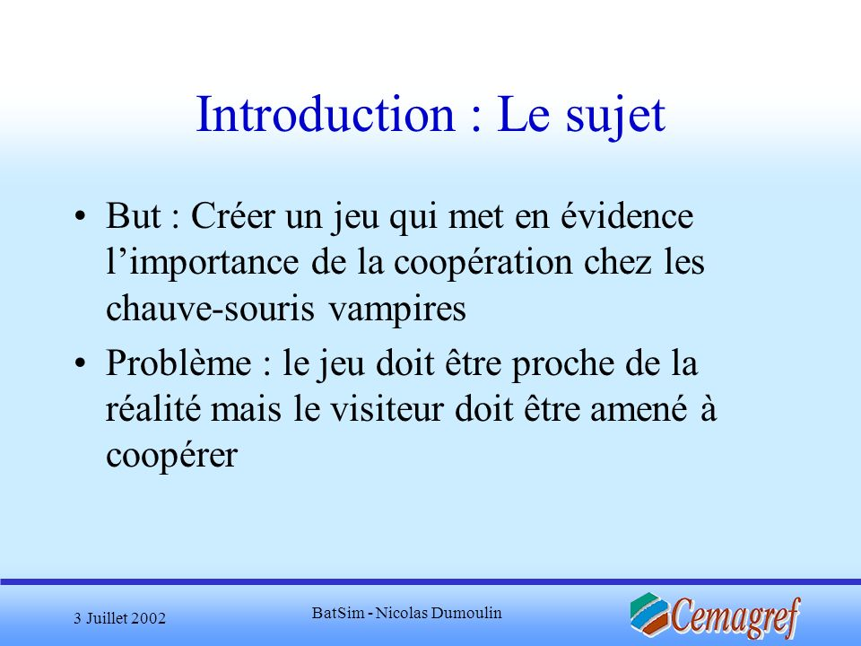 Introduction : Le sujet