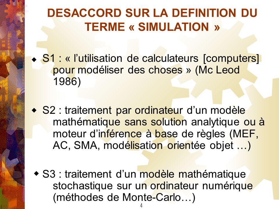 DESACCORD SUR LA DEFINITION DU TERME « SIMULATION »