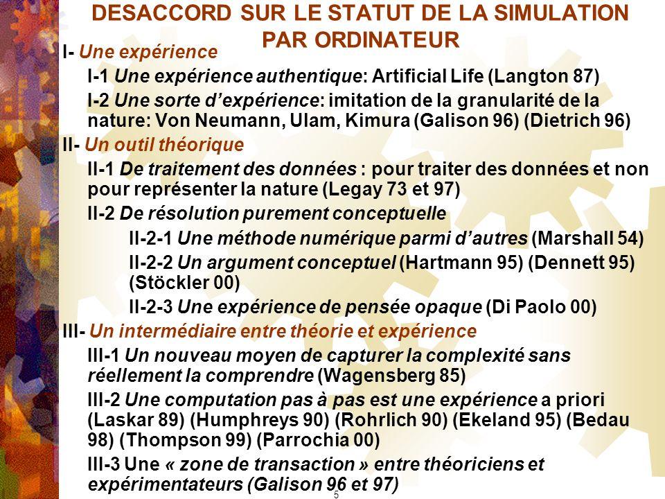 DESACCORD SUR LE STATUT DE LA SIMULATION PAR ORDINATEUR