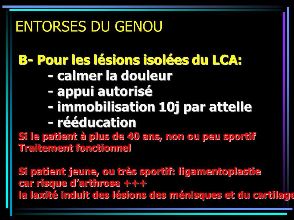 ENTORSES DU GENOU B- Pour les lésions isolées du LCA: