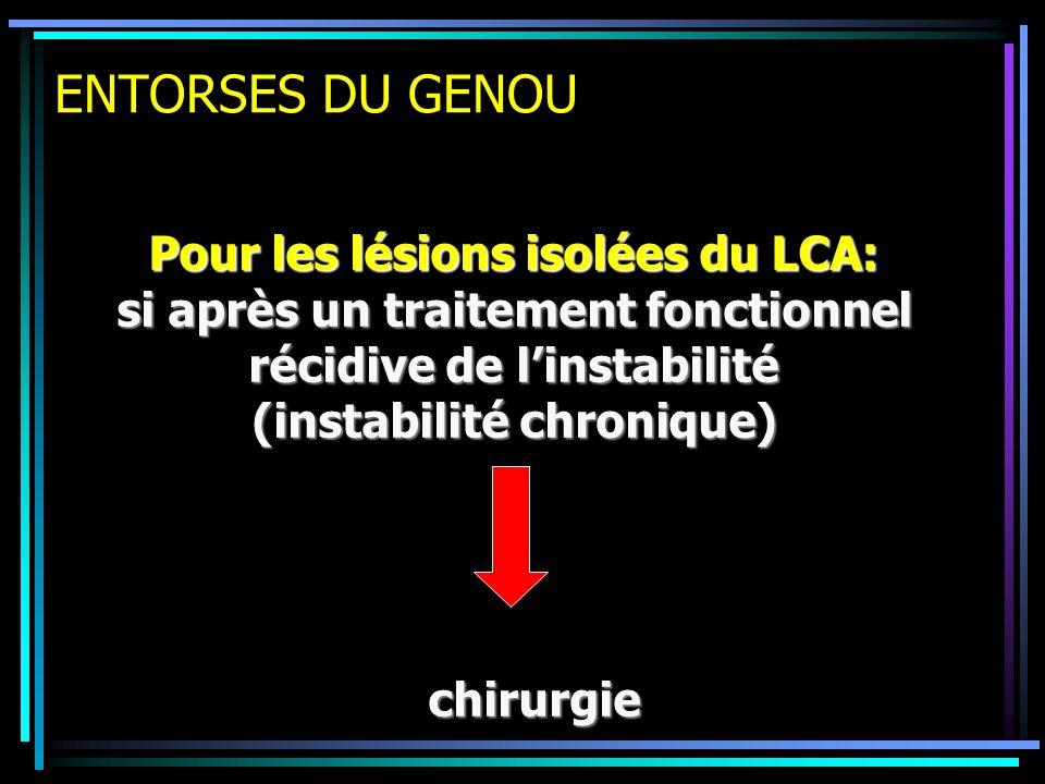 ENTORSES DU GENOU Pour les lésions isolées du LCA: