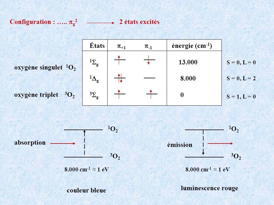 États p+1 p-1 énergie (cm-1) 1Sg 13.000 1Dg 8.000 3Sg 0