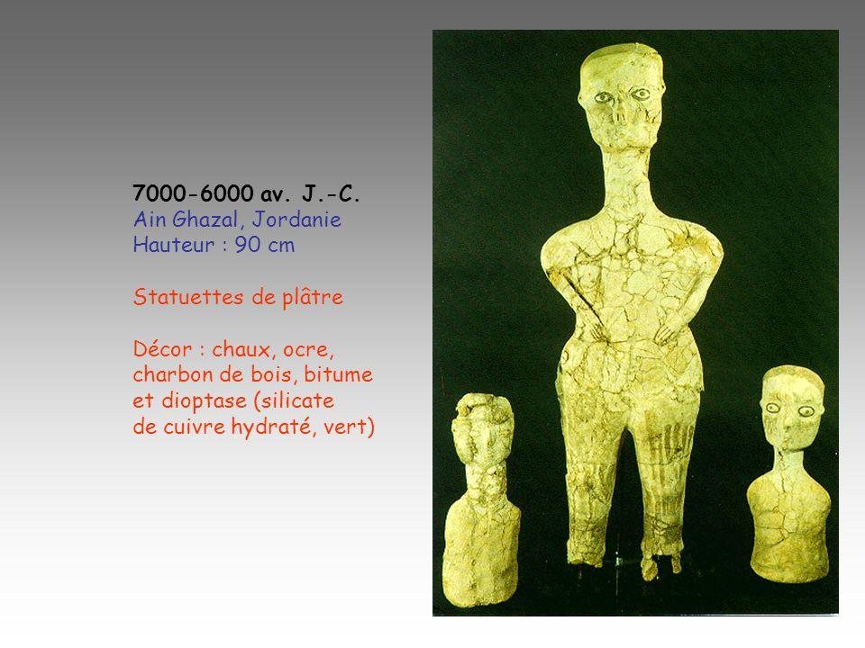 7000-6000 av. J.-C.Ain Ghazal, Jordanie. Hauteur : 90 cm. Statuettes de plâtre. Décor : chaux, ocre,