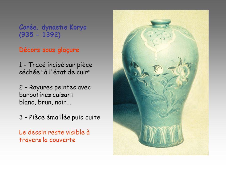 Corée, dynastie Koryo (935 - 1392) Décors sous glaçure. 1 - Tracé incisé sur pièce séchée à l état de cuir