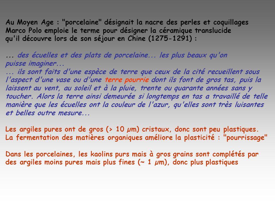 Au Moyen Age : porcelaine désignait la nacre des perles et coquillages