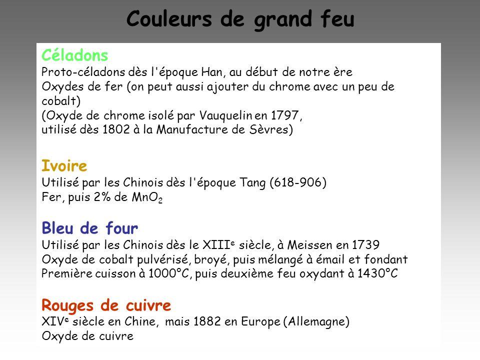 Couleurs de grand feu Céladons Ivoire Bleu de four Rouges de cuivre