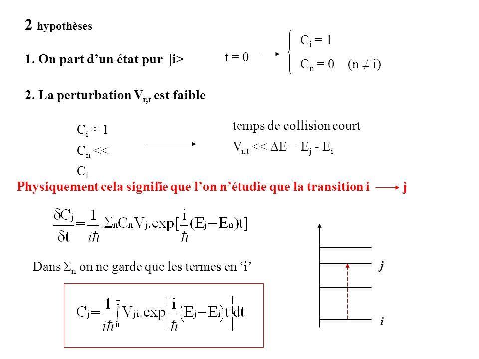 2 hypothèses Ci = 1 Cn = 0 (n ≠ i) t = 0