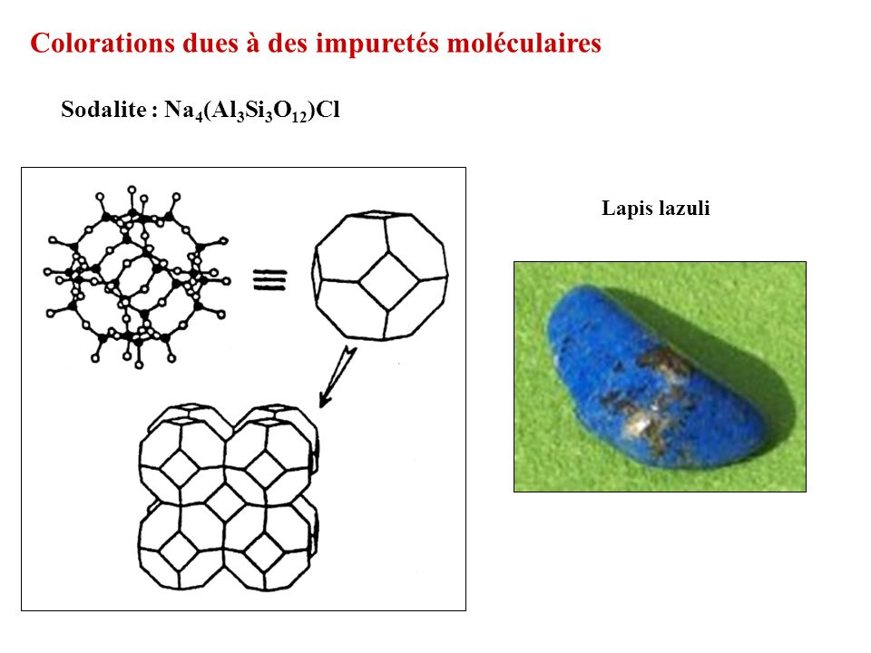 Colorations dues à des impuretés moléculaires
