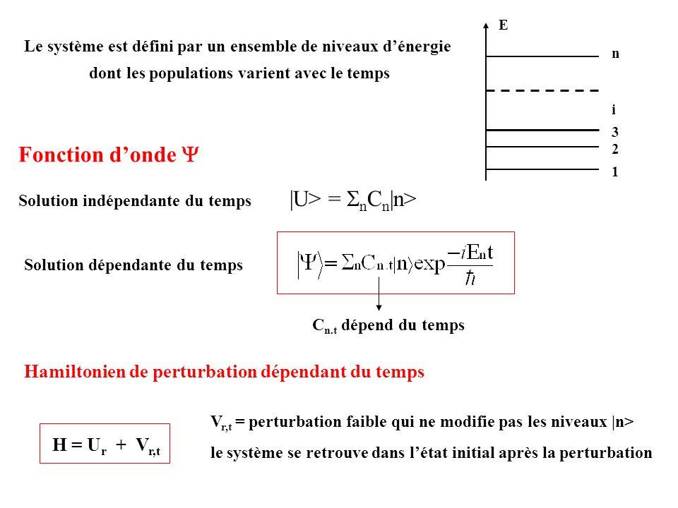 Fonction d'onde Y Hamiltonien de perturbation dépendant du temps