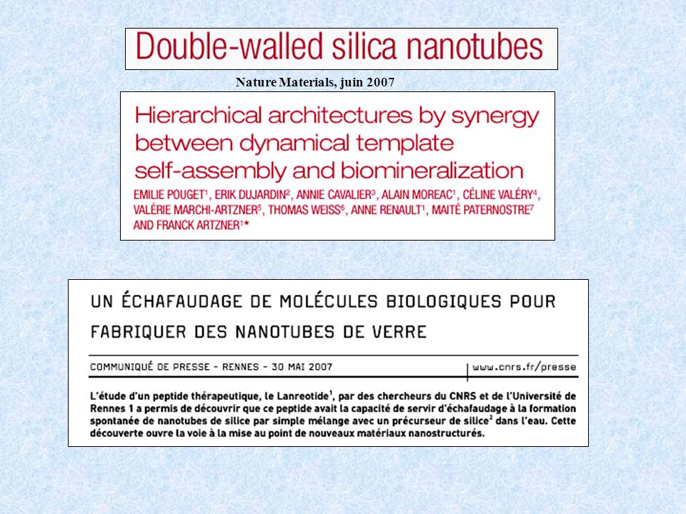 Nature Materials, juin 2007