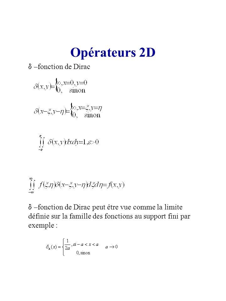 Opérateurs 2D d –fonction de Dirac