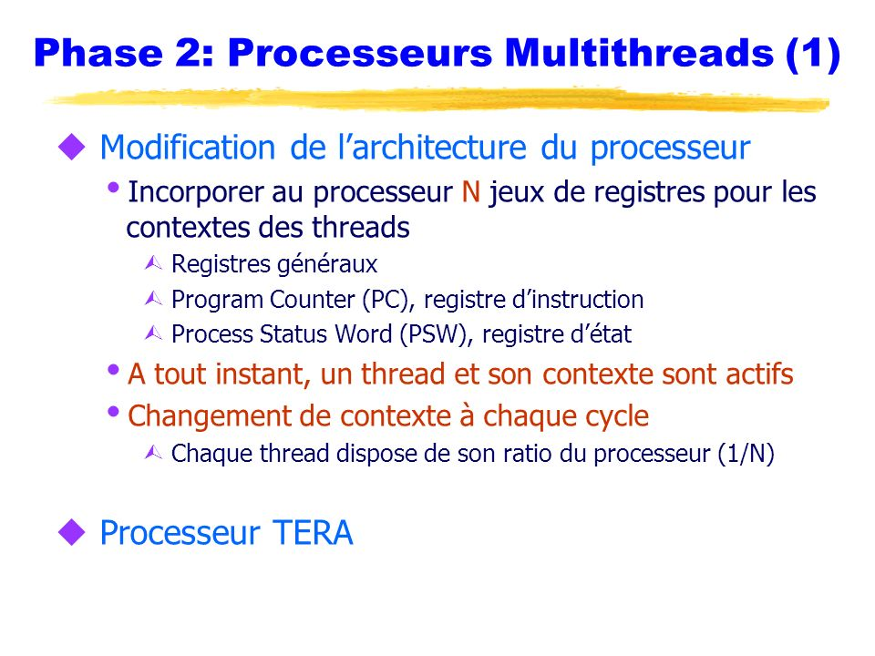 Phase 2: Processeurs Multithreads (1)