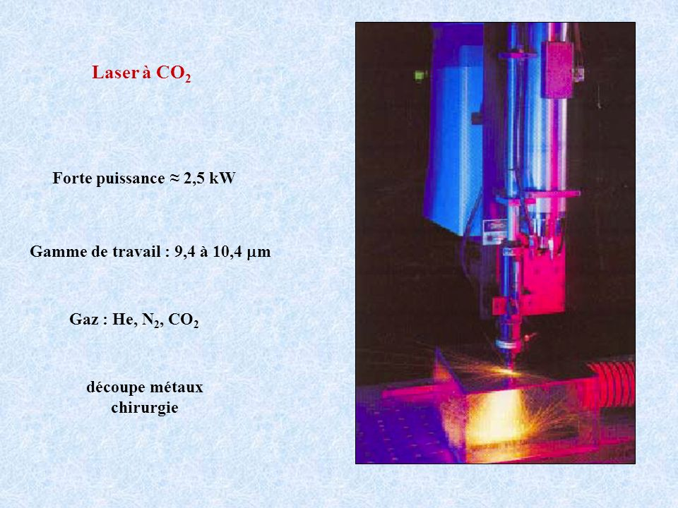 Laser à CO2 Forte puissance ≈ 2,5 kW Gamme de travail : 9,4 à 10,4 mm