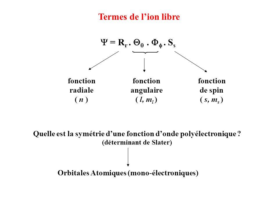 Termes de l'ion libre Y = Rr . Qq . Ff . Ss fonction radiale ( n )