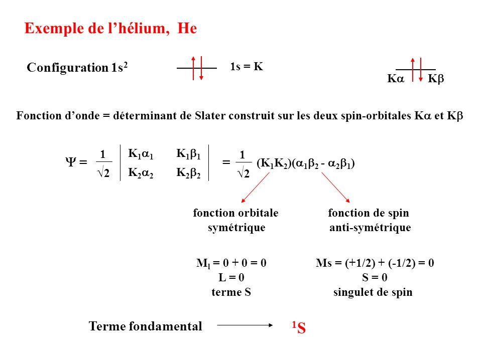 Exemple de l'hélium, He 1S Configuration 1s2 √2 Y = =
