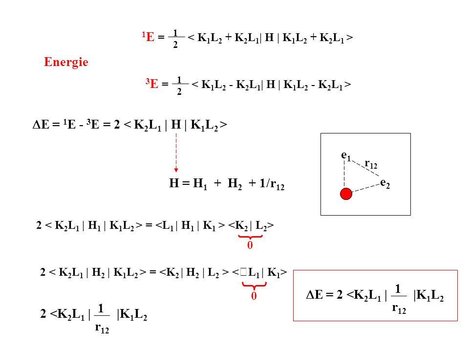 DE = 1E - 3E = 2 < K2L1 | H | K1L2 >