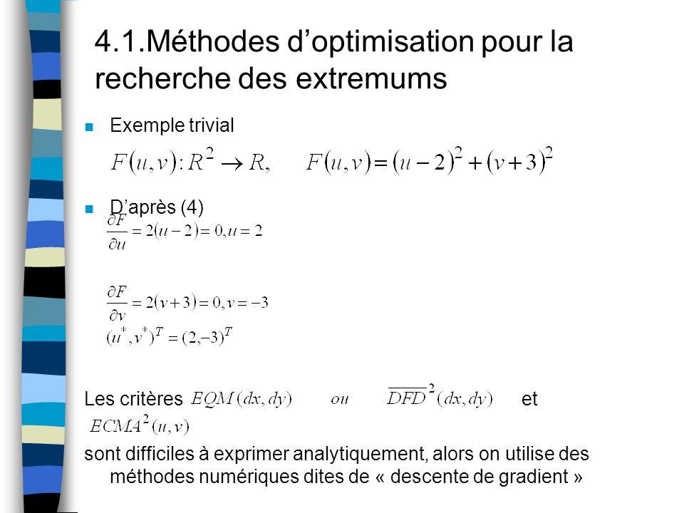4.1.Méthodes d'optimisation pour la recherche des extremums