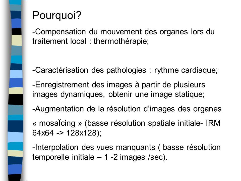 Pourquoi -Compensation du mouvement des organes lors du traitement local : thermothérapie; -Caractérisation des pathologies : rythme cardiaque;