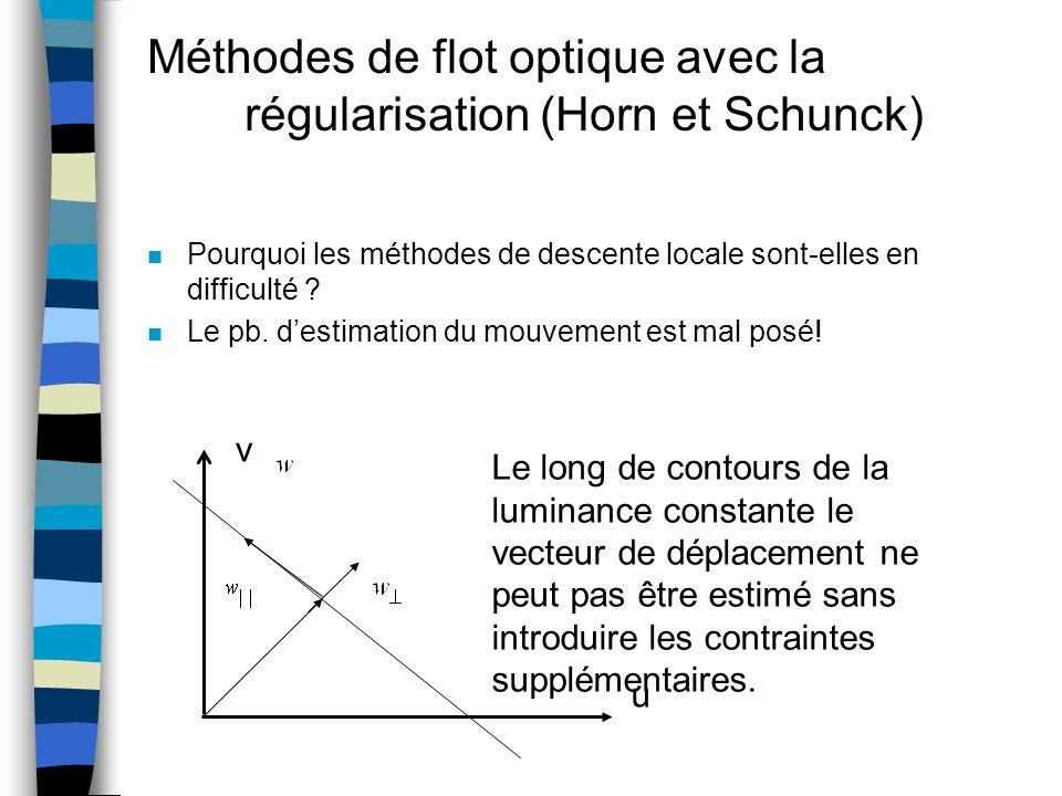 Méthodes de flot optique avec la régularisation (Horn et Schunck)