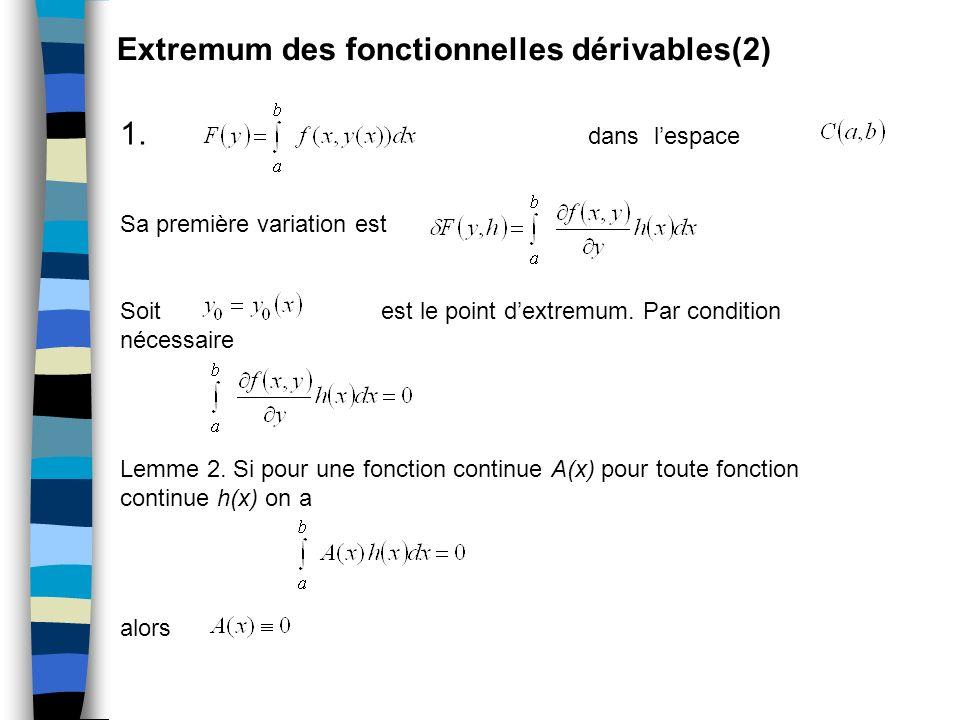 Extremum des fonctionnelles dérivables(2)