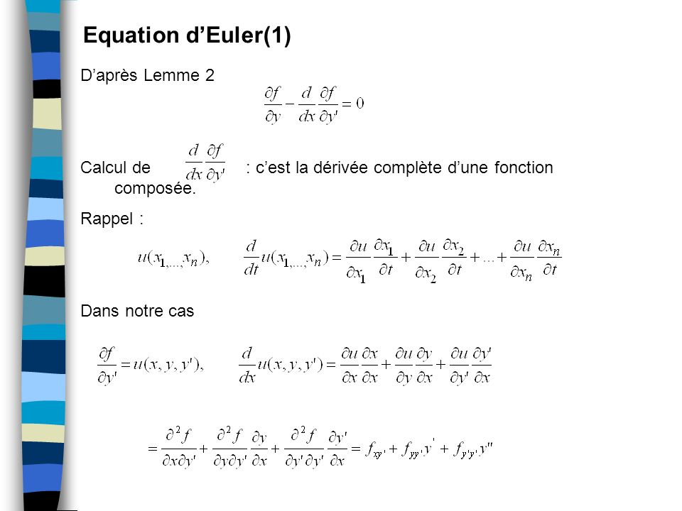 Equation d'Euler(1) D'après Lemme 2