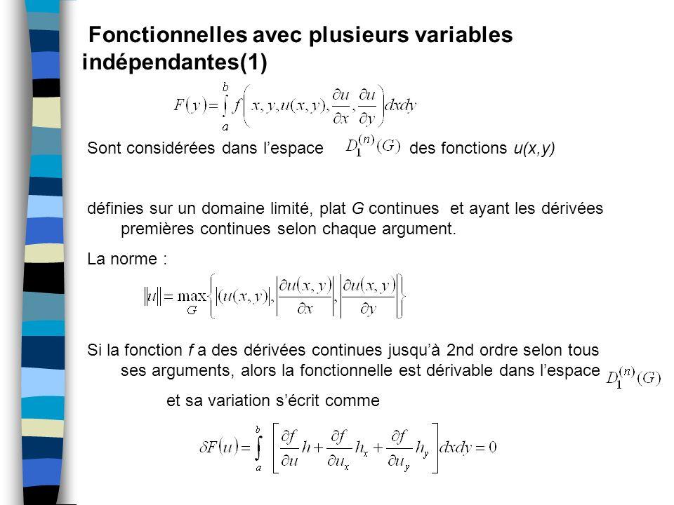 Fonctionnelles avec plusieurs variables indépendantes(1)