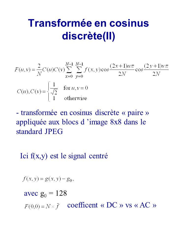 Transformée en cosinus discrète(II)