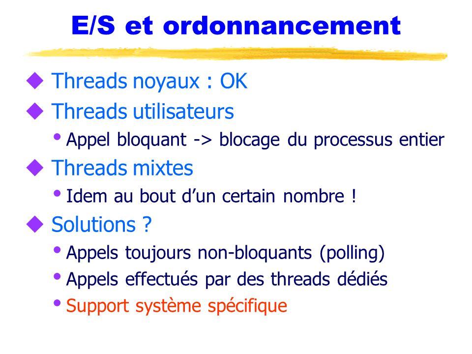 E/S et ordonnancement Threads noyaux : OK Threads utilisateurs